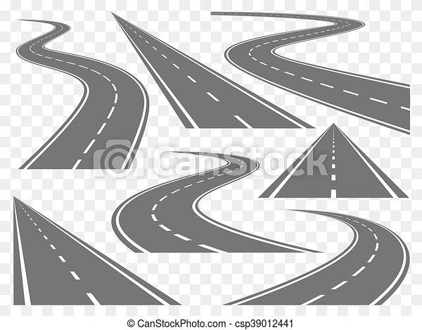 Bending roads vector set - csp39012441
