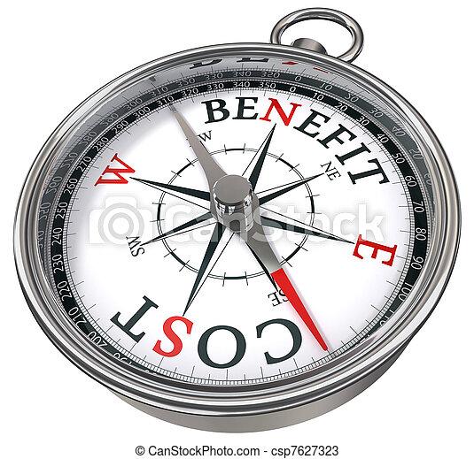 benefit cost concept compass - csp7627323