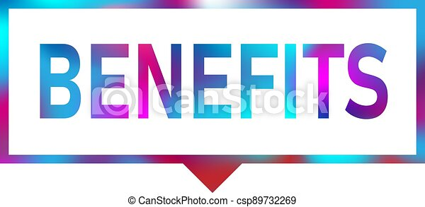 benefits blue color realistic paper speech bubble isolated on white - csp89732269