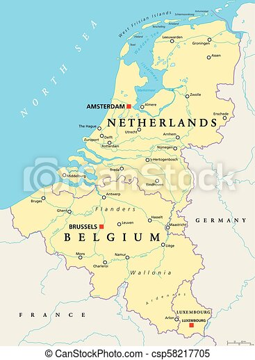 map of belgium and luxembourg Benelux Belgium Netherlands And Luxembourg Political Map map of belgium and luxembourg