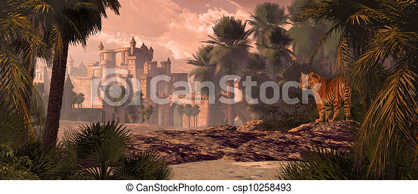 Bengal Tiger And Castle - csp10258493
