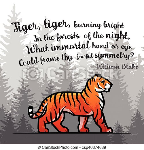 Bengal Tiger in forest poster design. Double exposure vector template. Old poem by William Blake illustration on foggy background. - csp40874639