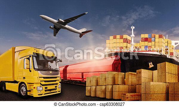beni, trasporto, aereo, treno, camion, nave - csp63308027