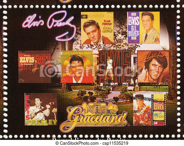 BENIN - CIRCA 2009 : stamp printed in Benin - Elvis Presley in her LP and Graceland, circa 2009 - csp11535219