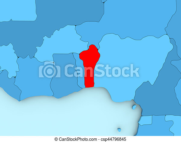 Benin on 3d map. Country of benin highlighted in red on blue map. 3d ...