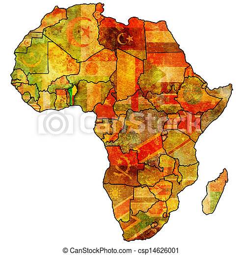 Benin on actual map of africa. Benin on actual vintage political map ...