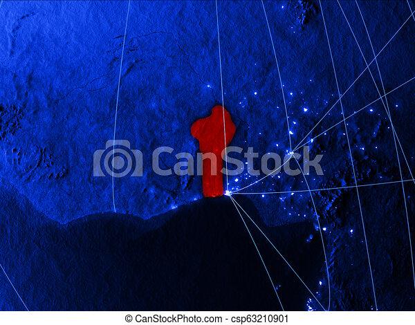Benin on blue blue digital map - csp63210901