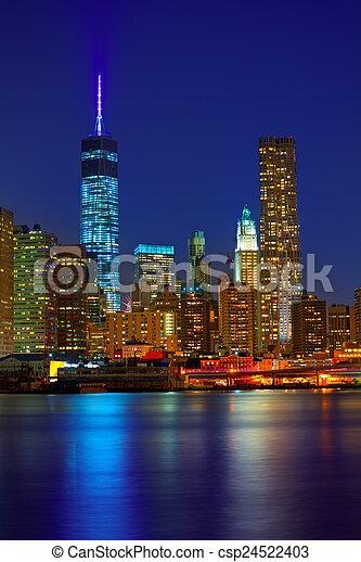 bennünket, láthatár, napnyugta, york, nyc, új, manhattan - csp24522403