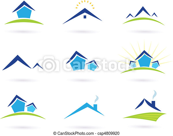 bens imóveis, ícones, /, casas, logotipo - csp4809920