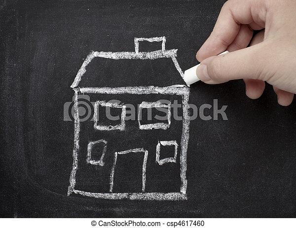 bens imóveis, construção casa, arquitetura, lar, chalkboard - csp4617460