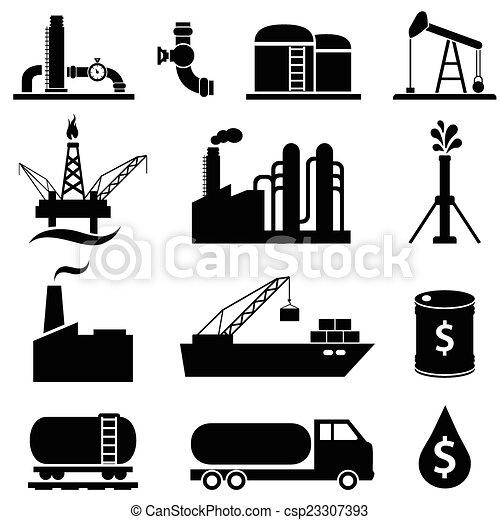 benzin, olaj, állhatatos, ikon - csp23307393