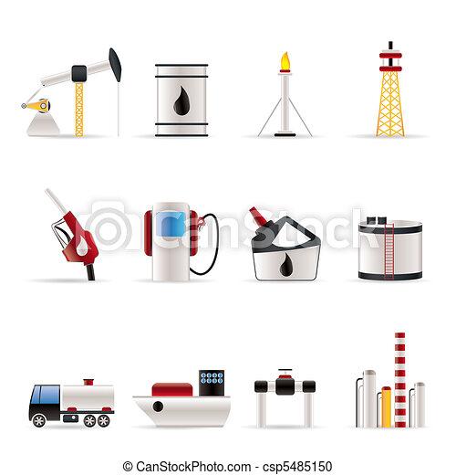 benzina, industria, olio, icone - csp5485150
