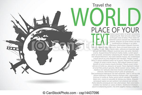 berömd, minnesmärkena, omkring, värld - csp14437096