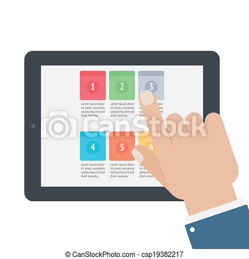 berühren, app, schirm, tablette, finger - csp19382217