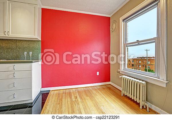 Fenster Essen bereich wand hell essen fenster rotes leerer boden