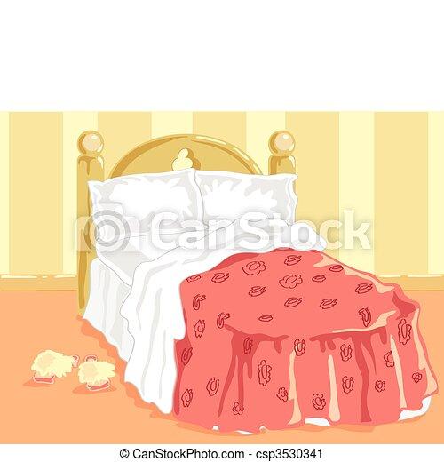 Bereit Bett Rosa Abdeckhauben Bett Hand Vektor Abbildung
