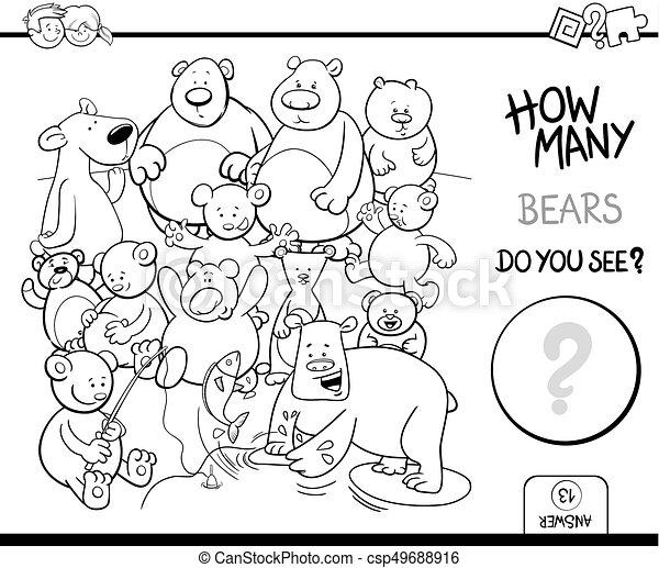 beren, kleuren, telling, boek, activiteit - csp49688916