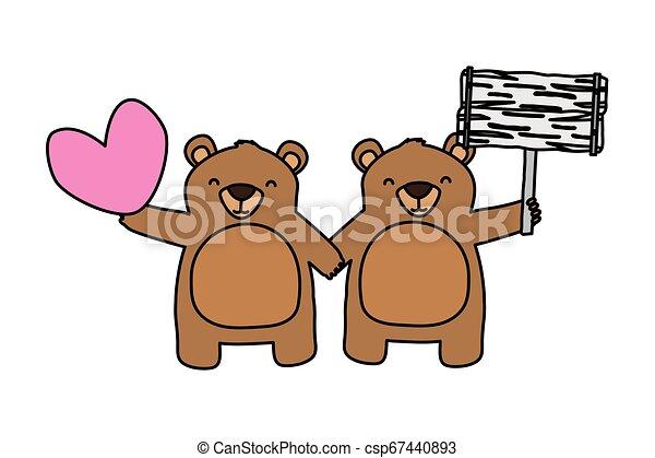 beren, schattig, weinig; niet zo(veel), hart - csp67440893