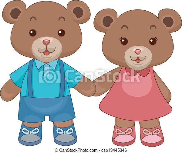 beren, teddy, speelbal, holdingshanden - csp13445346