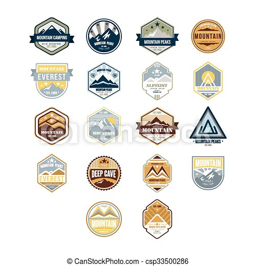 berg, buiten, set, ouderwetse , vector, avontuur, emblems - csp33500286