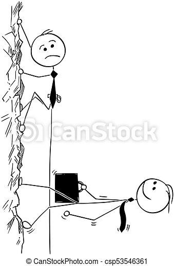 Kartoon von Geschäftsleuten, die Bergsteigen oder leicht zu Fuß - csp53546361