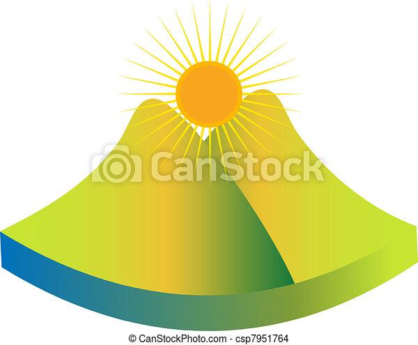 berg, groene, logo - csp7951764
