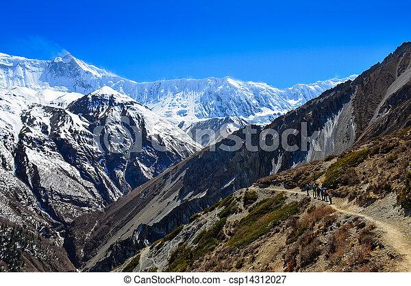 berg, groep, backpacking, himalayas, trekkers, landscape - csp14312027