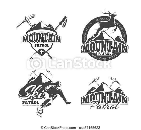 berg, kentekens, patrouille, logos, ouderwetse , etiketten, vector, set, emblems, ski - csp37165623
