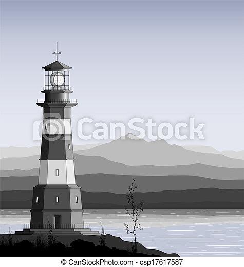 Leuchtturm gegen eine Bergkette. - csp17617587