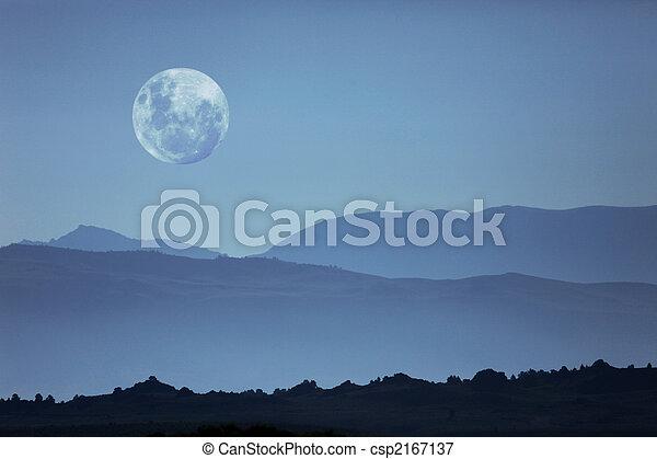 berg, silhouetten, geisterhaft, mond - csp2167137