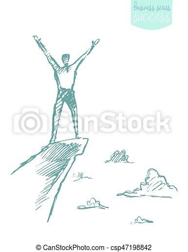berg, skizze, erfolg, vektor, gezeichnet, bergsteiger, mann - csp47198842