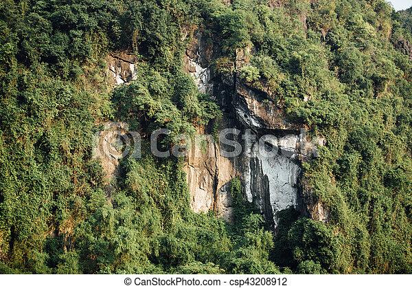 berg, spektakulär, bäume, gesicht, hintergrund, grün, asia, gestein - csp43208912