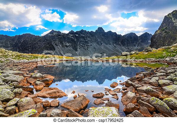 berg, tatras, landschap, meer, hoog, slowakije, aanzicht - csp17952425