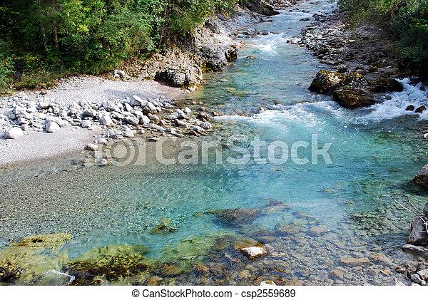 berg, tuquoise, klar, steinen, wasser, fluß - csp2559689