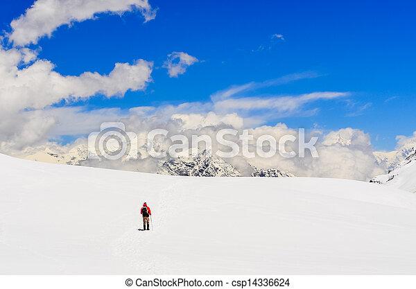 berg, wandelende, winter, bergen, himalayas, hoog, trekker - csp14336624