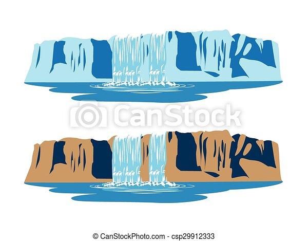 berg, wasserfälle - csp29912333