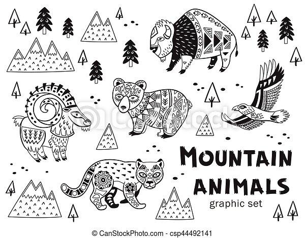 Berg, weißes, satz, tiere, schwarz. Berg, stil, färbung,... EPS ...