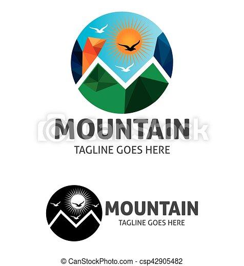 berg, zon, vector, mal, logo, brid - csp42905482