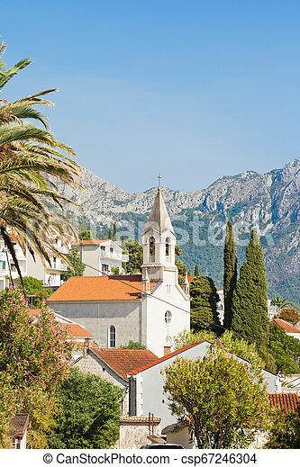 berge, -, kroatien, brist, kirchturm, front, brist, dalmatien - csp67246304