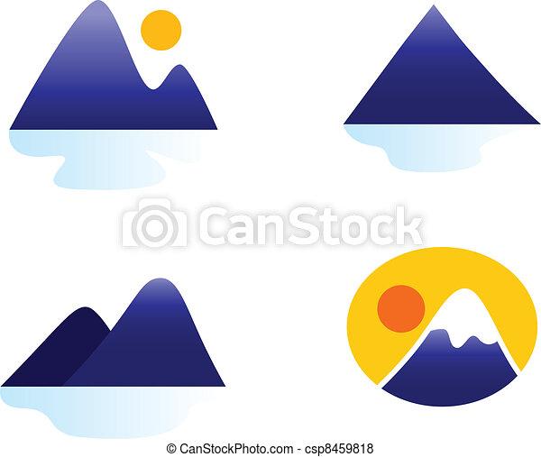 bergen, heuvels, iconen, vrijstaand, verzameling, witte , of - csp8459818