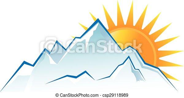 bergen, ondergaande zon , logo - csp29118989