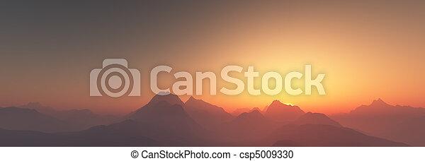 bergen, op, ondergaande zon  - csp5009330