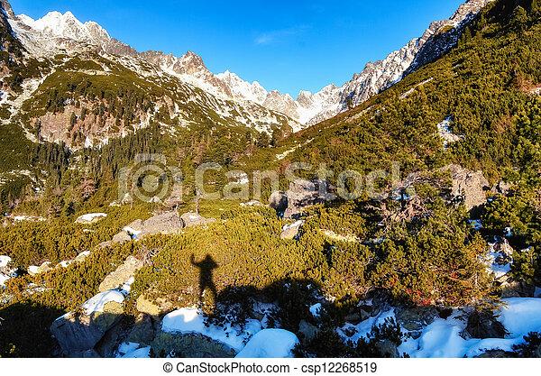bergen, schaduw, silhouette, winter, man - csp12268519