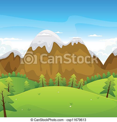 bergen, spotprent, landscape - csp11679613