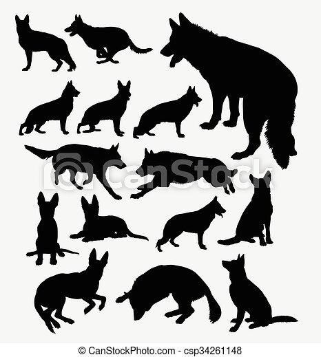 Berger allemand chouchou silhouette chien mascotte - Dessin de chien berger allemand ...