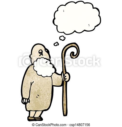 berger, vieux, dessin animé, homme - csp14807156