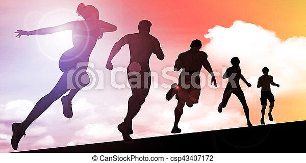 bergopwaarts, ondergaande zon , rennende , silhouette, man - csp43407172