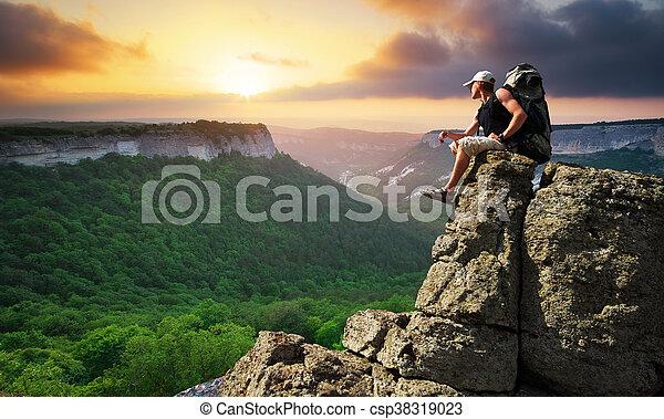 bergstopp, man - csp38319023