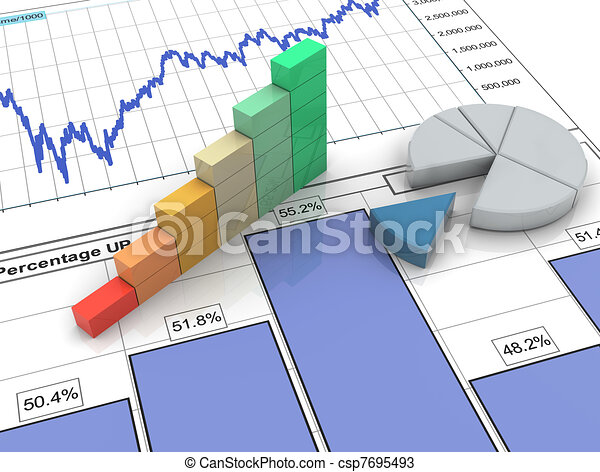 3D Fortschrittsbar beim Finanzbericht - csp7695493