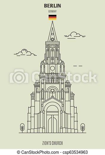 berlin, église, germany., repère, icône, zion's - csp63534963